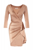 Gold satin 3/4 sleeve mini dress