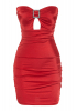 Red satin strapless mini dress
