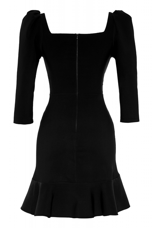 Black crepe 3/4 sleeve mini dress