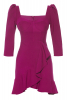 Fuchsia crepe 3/4 sleeve mini dress