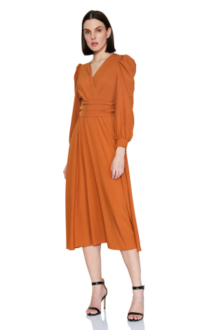Ginger chiffon long sleeve midi dress