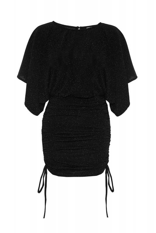 Black short sleeve mini dress