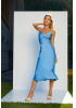 Blue satin sleeveless maxi dress