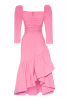 Pink crepe 3/4 sleeve maxi dress