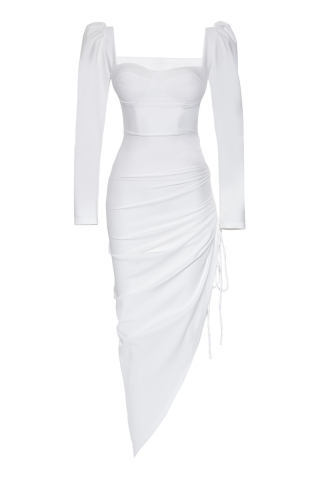 White crepe long sleeve maxi dress