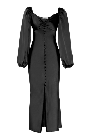 Black satin long sleeve maxi dress