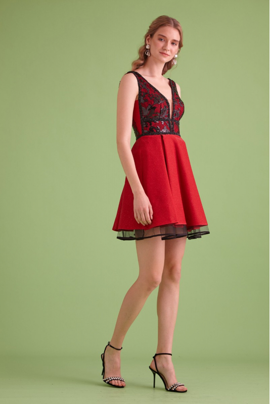 Red knitted sleeveless mini dress