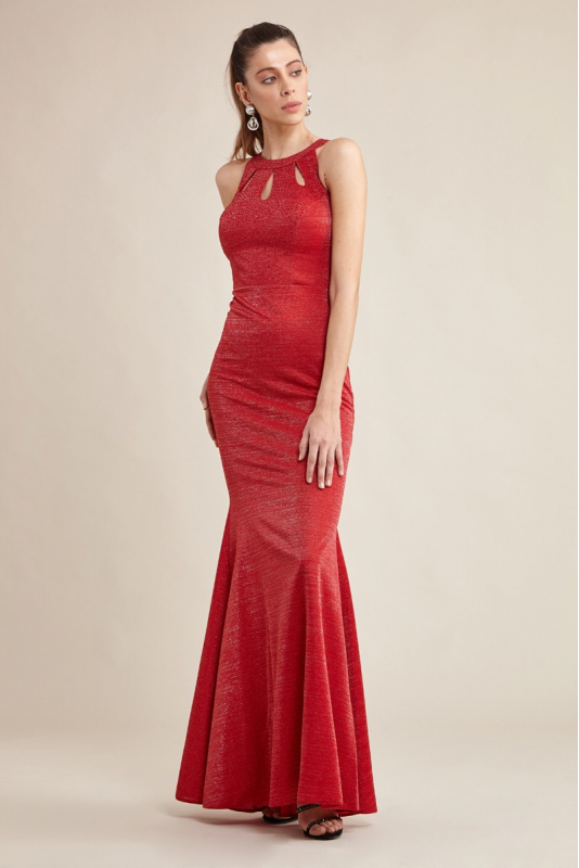 Red knitted sleeveless maxi dress