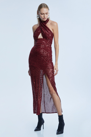 Claret red sequined sleeveless long dress