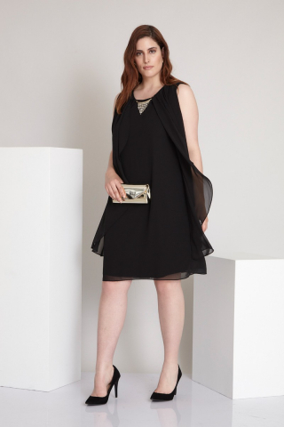 Black plus size chiffon sleeveless mini dress