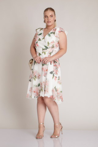 Print c07 plus size short sleeve midi dress