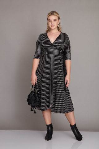 Black plus size crepe 3/4 sleeve midi dress
