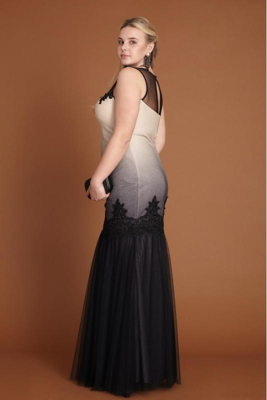 Silver leaf 080 plus size knitted sleeveless maxi dress