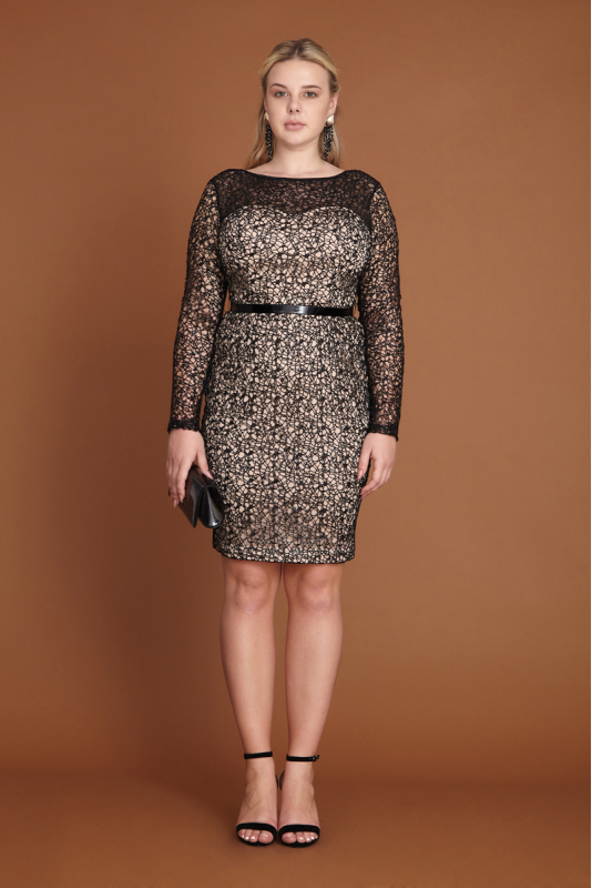 Powder plus size lace long sleeve mini dress