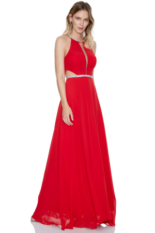 Red plain maxi dress
