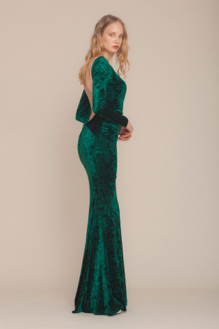 Dark green velvet long sleeve maxi dress