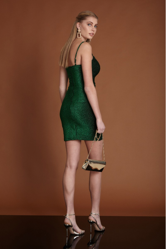 Dark green knitted sleeveless mini dress