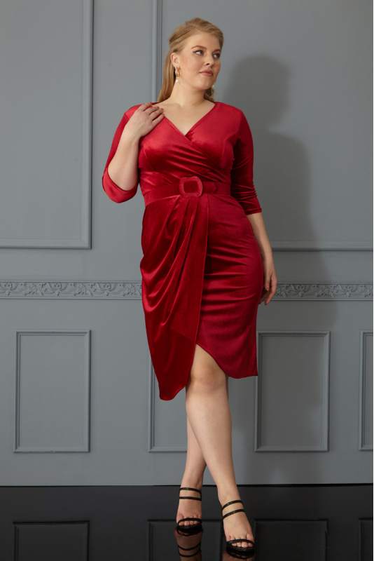 Red plus size maxi dress
