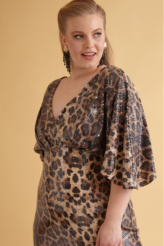 Leopard plus size sequined short sleeve maxi dress