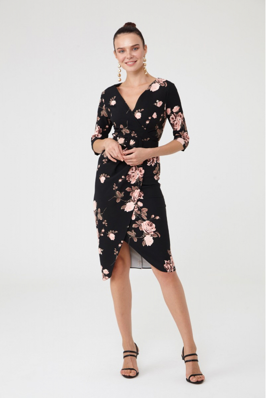 Print d65 3/4 sleeve midi dress