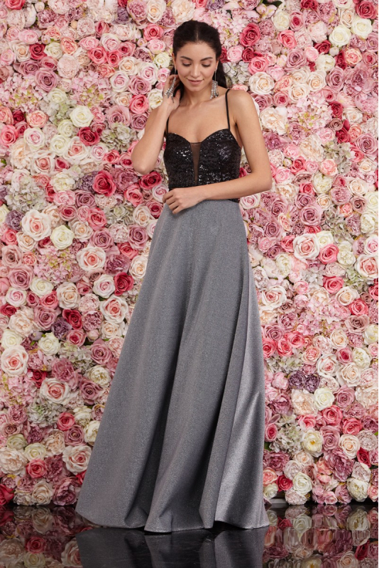 Silver knitted sleeveless maxi dress