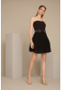 Black crepe strapless mini dress