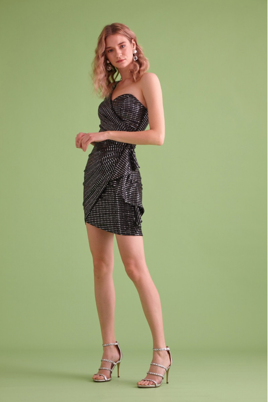 Mirrored silver sequined single sleeve mini dress