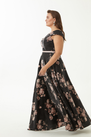 Print d65 plus size maxi dress